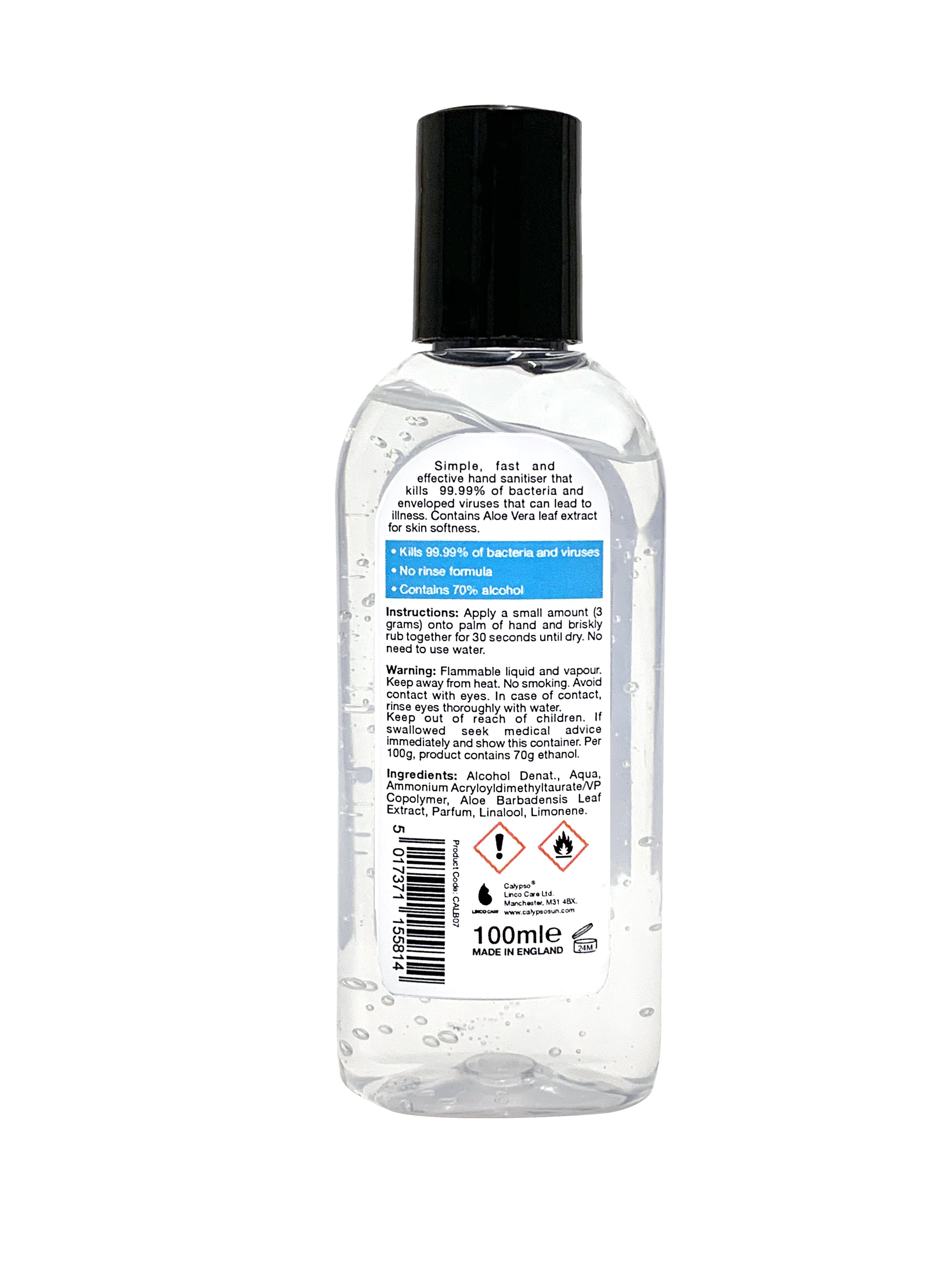 Calypso Hand Hygiene Spray 100ml back label